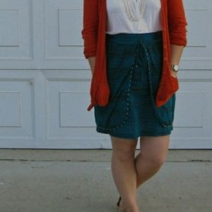 Anthro Odille Studded Layered Teal Mini Skirt 4